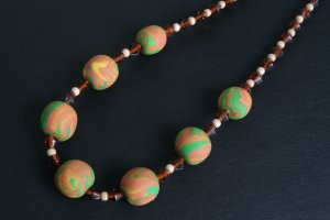Orange Yellow and Green Chunky Necklace