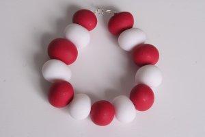 Glittered Red and White Chunky Bracelet