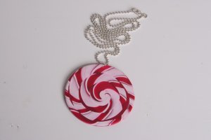 Red and White Swirl Necklace