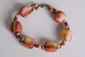 Burnt Orange Yellow and Brown Bracelet