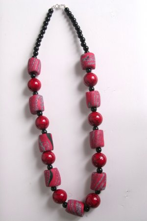 Red Black and Granite Necklace