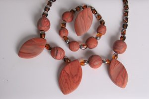 Brown Earthtone Necklace Bracelet and Adjustable Ring Set