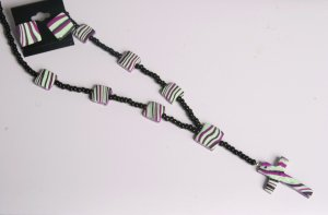 Pistachio Green Black and Purple Rosary and Earrings