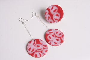 Red and Glitter White Earrings and Ring