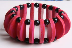 Pink and Black Bracelet Cuff