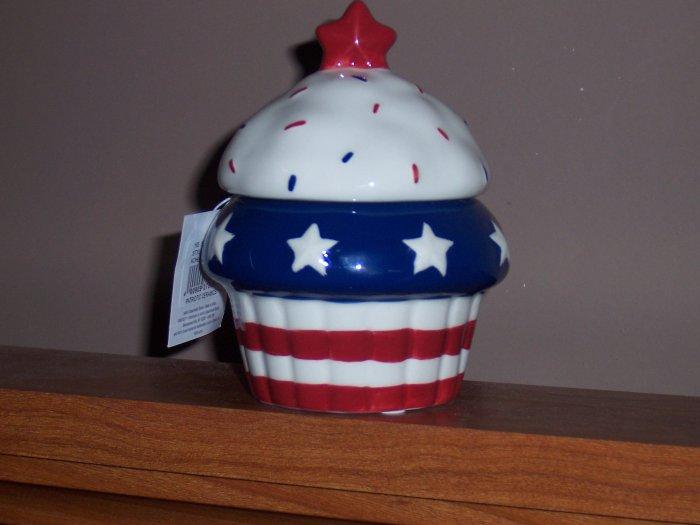 Patriotic ceramic cupcake with vanilla votive candle