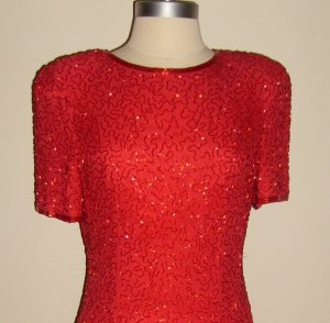 Vintage Red Cocktail Beaded Dress by A. J. Bari : Size - 6