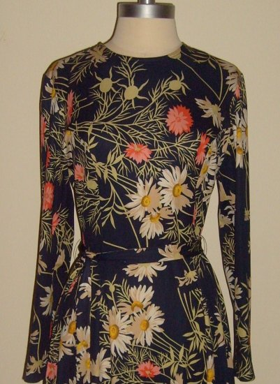 1970s Navy Blue Floral Print Dress by Edith Flagg: Size M ~ SOLD