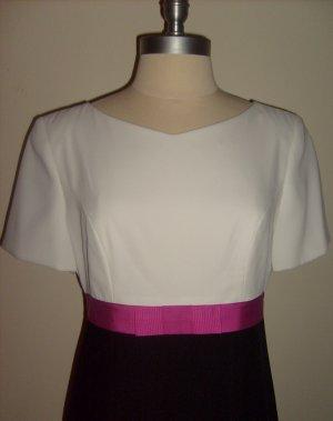 White, Black & Pink Ribbon Dress by Liz Claiborne ~ Size 8