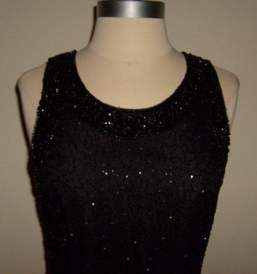 Laurence Kagar 70s Black Sparkle Tank Cocktail Beaded Dress ~ Size M
