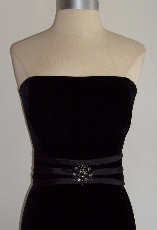 Talbots Black Velvet Strapless Cocktail Dress Size 10 Sold