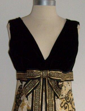 Vintage Black and Gold Cocktail Dress Size 6