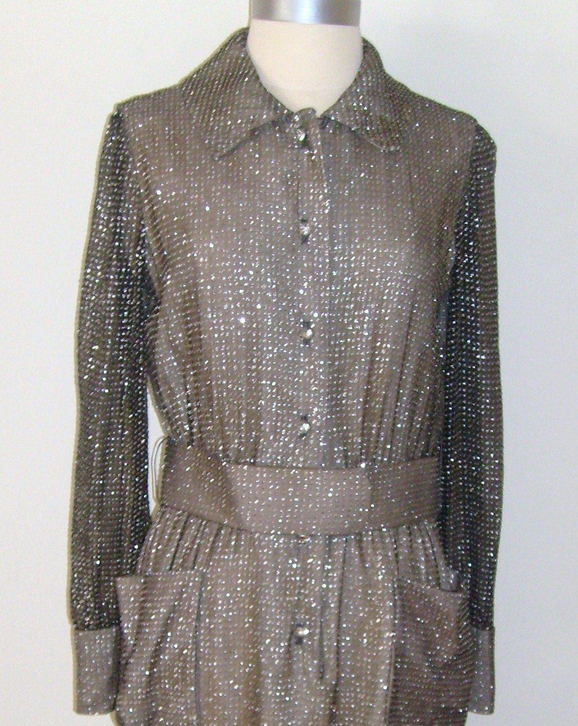 Harold Levine Vintage Sparkling Shirt Dress Size 12