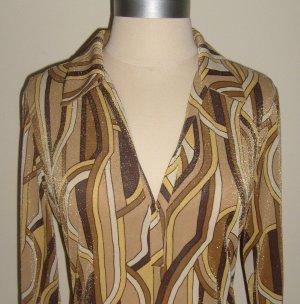 Gold Retro Print Shirt Dress Size S