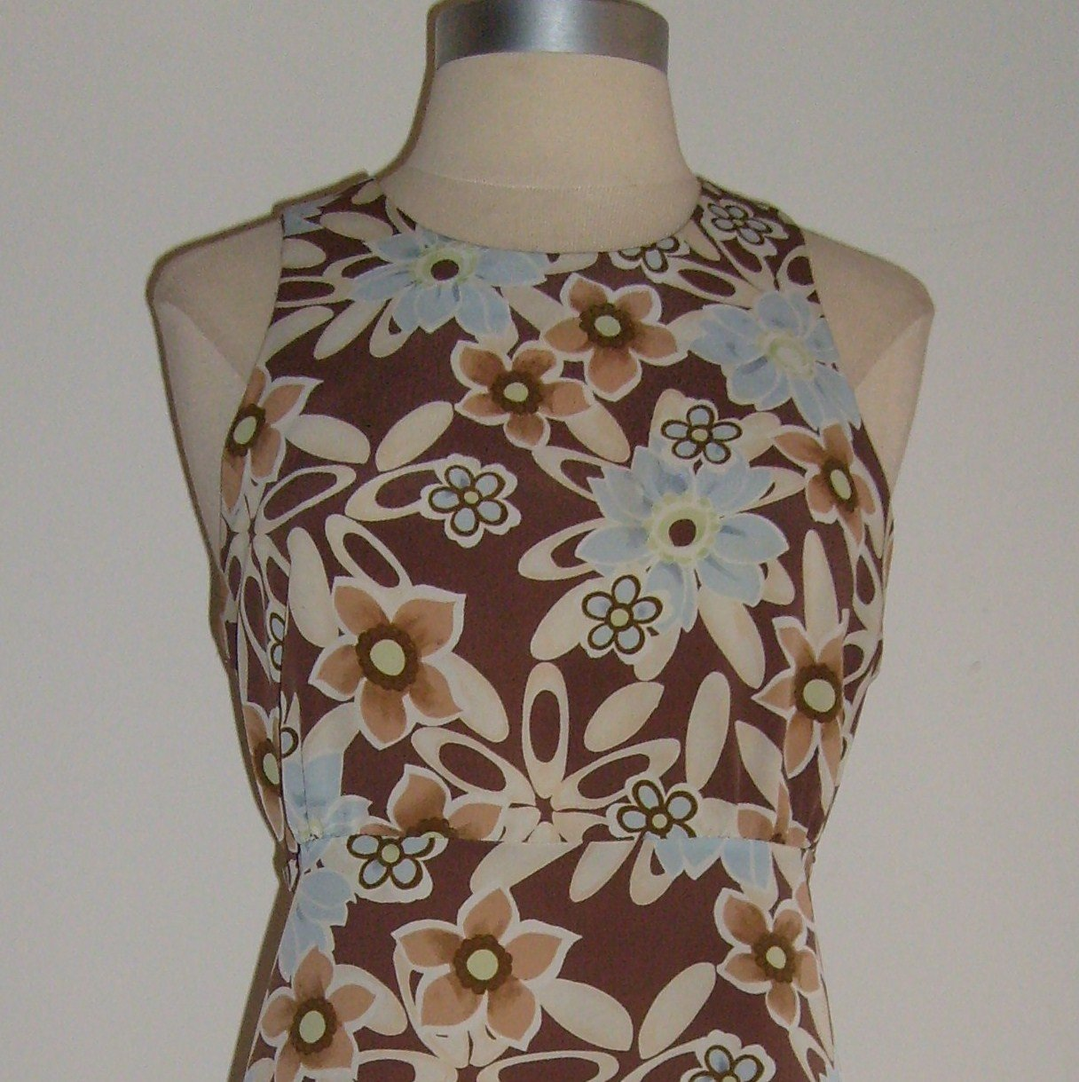 LA Belle Brown Floral Print Dress Size 11
