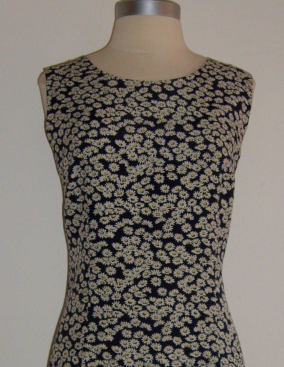 Talbots Black Daisy Flower Print Dress Size 12