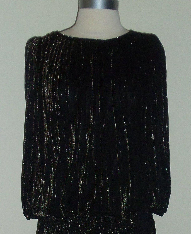 Vintage Black and Gold Metallic Tunic Disco Dress Size 12