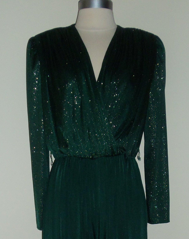 Vintage Green Jersey Sparkling Gold Jumpsuit