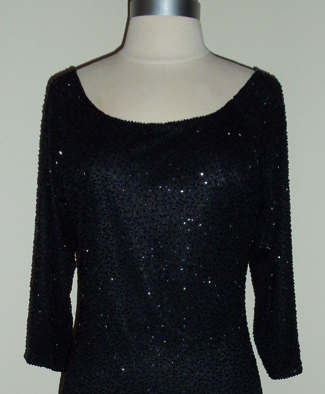 Brilliante by J.A. Black Beaded Shift Dress Size M