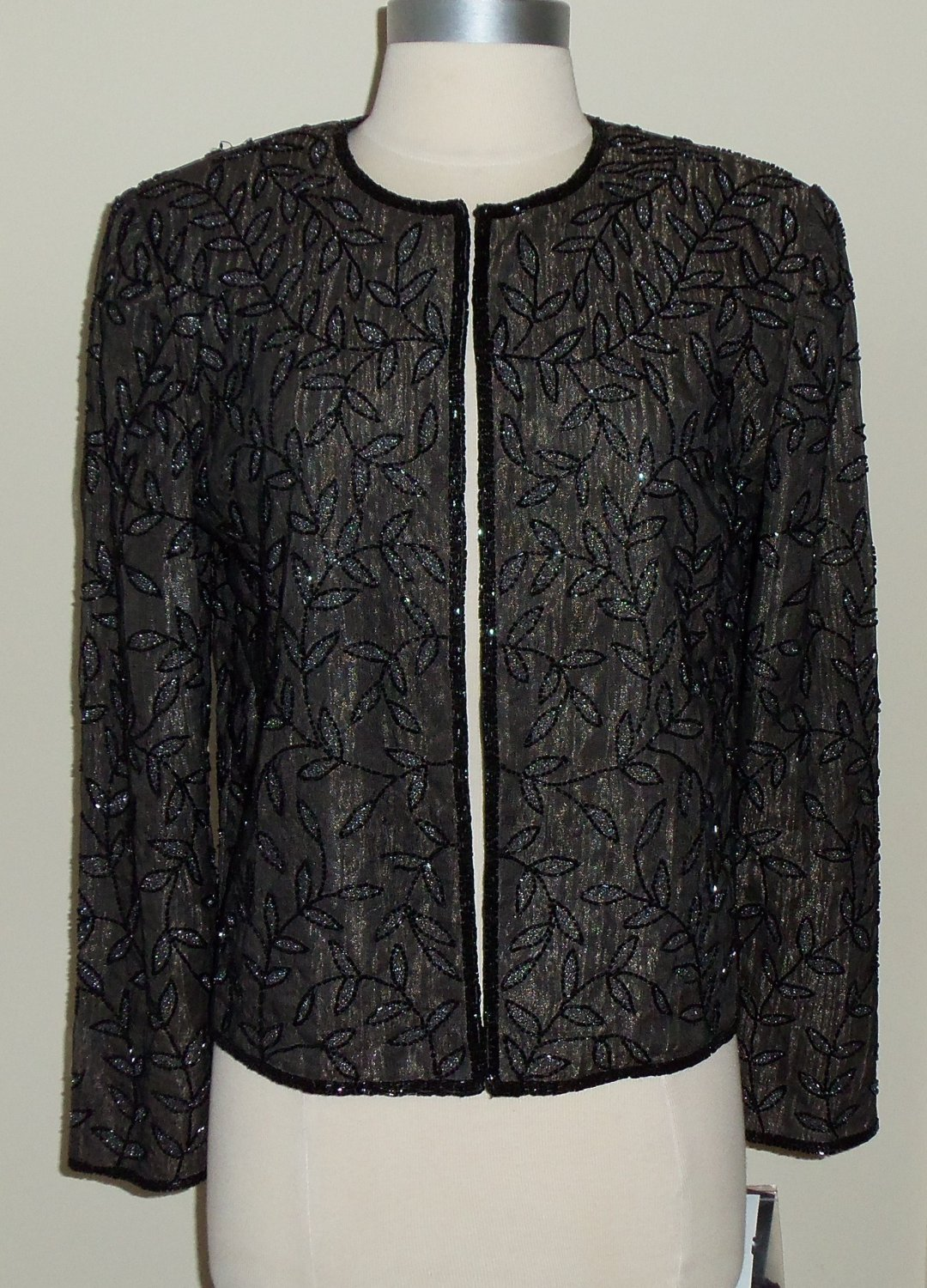 Chaudry Black and Sliver Beaded Cocktail Jacket