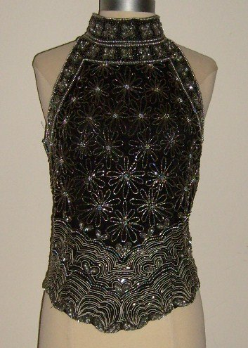 Papell Boutique Evening Sliver Beaded Sequins Halter Top Size L ~ SOLD