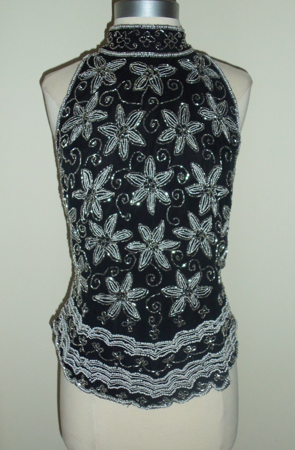 Papell Boutique Evening Black & White Beaded Top Size XL ~ SOLD
