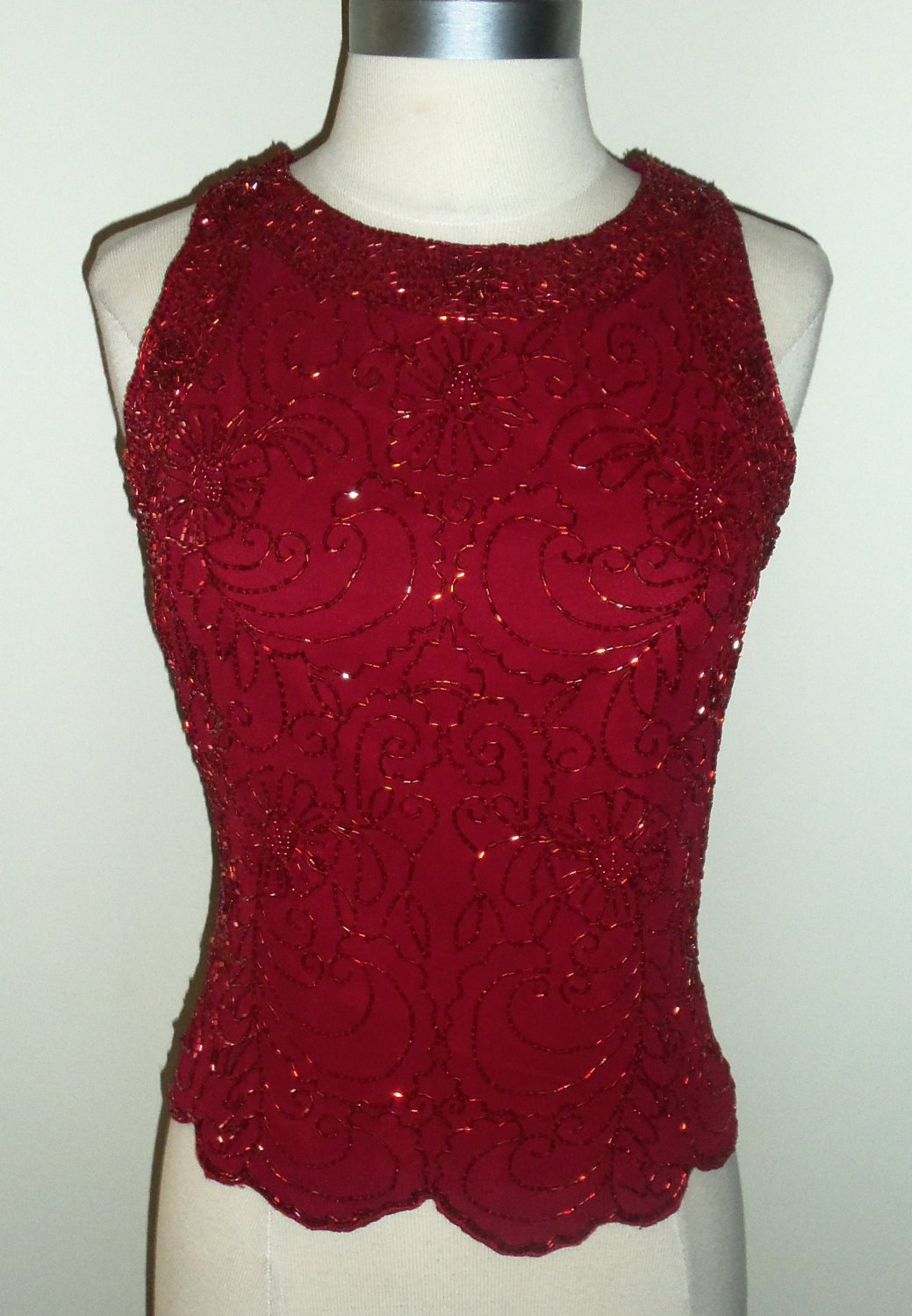 Dressbarn Collection Red Beaded Blouse Sold