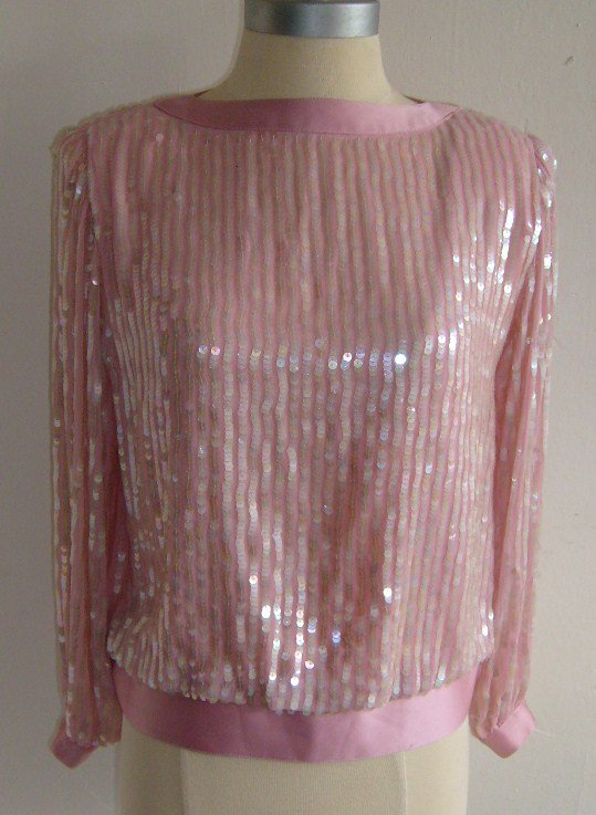 Talbots Petite collection Pink Sequins Blouse