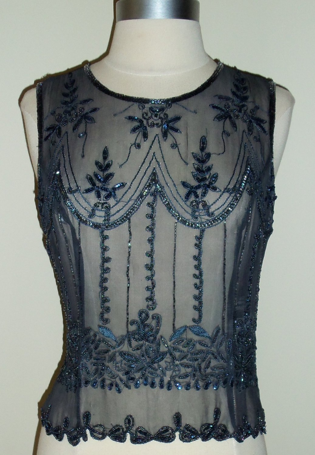 Vintage Grey Beads & Sequins Blouse