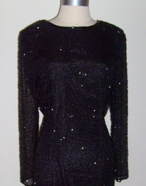 Vintage Black Beaded Evening Gown by SWEELO ~ Size M (10-12)