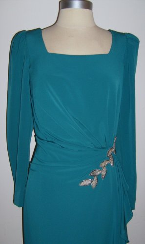 Vintage Teal Green Gown: Size 14 (modern-day size 8-M)