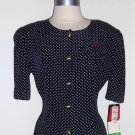 S.L. Fashion Vintage Navy Blue Polka Dots Shirtdress Size 14
