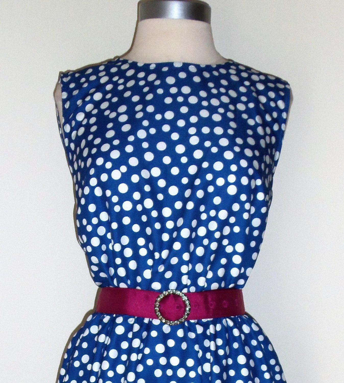 Signature Collection by Vicki Wayne Blue Polka Dot Dress Size 14p