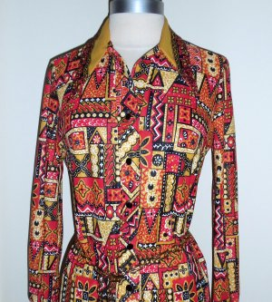 Vintage Retro Floral Print Shirt Dress Size 10