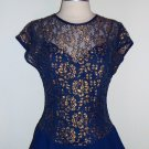70s vintage Late Edition Gold and Navy Blue Tiered Dress Size 12