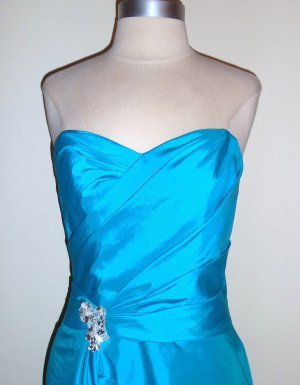 Strapless Teal Cocktail Dress Size S