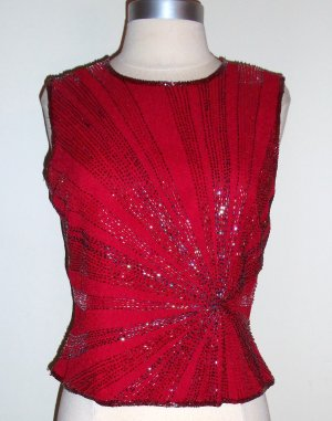 PAPELL BOUTIQUE Evening Red Beaded Blouse Size S