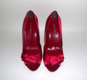 Blake Scott Red Satin Peep-Toe Pumps Size 7W