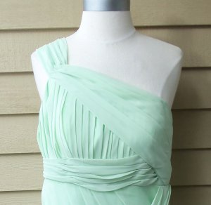 One-Shoulder Pleated Draped Chiffon Mini Dress Size S