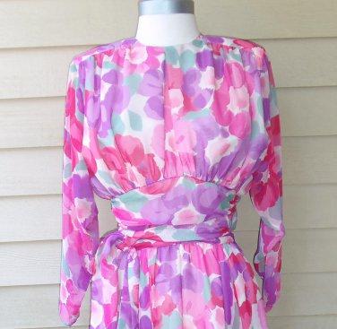 Vintage David Josef Floral Print Dress Size 8
