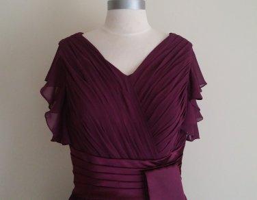 Burgundy Chiffon Ruched Dress Size 16 (X-Large)