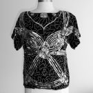 Black Sparkly Silver Beaded Sequined Silk Blouse Size M