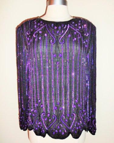 SCALA Vintage Black Purple Iridescent Beaded Sequined Blouse Size L
