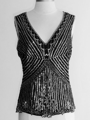 Together Black Silver Sequined and Beaded Top Size 8