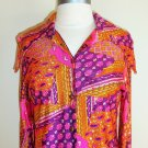 Vintage Pink Psychedelic Paisley Floral Print Shirt Dress Size M