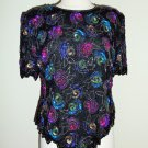 Vintage Laurence Kazar Floral Sequined Beaded Multi Color Blouse: Size XL
