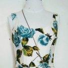 Floral Rose Print Flare Silk Dress Size 2