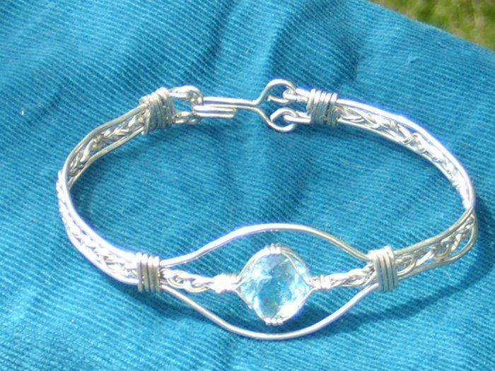 Genuine Blue Topaz Hand Made Bracelet