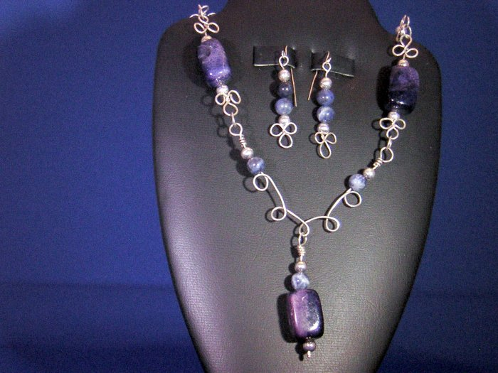 Sodolite and .925 Sterling Silver beads necklace set