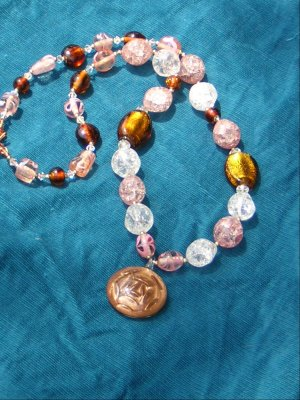 14K rolled Gold and crackel bead necklace